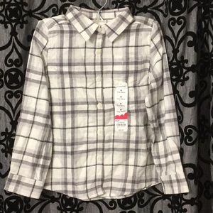 jumping beans Silver Metallic Plaid Button Down